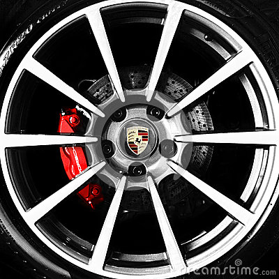 Porsche alloy wheel and emblem Editorial Photography