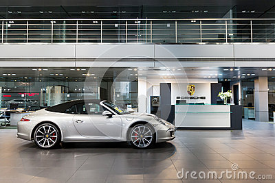 Porsche cars for sale in showroom Editorial Stock Photo