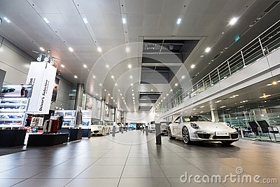 Porsche cars for sale in showroom Editorial Stock Image