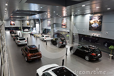 Porsche cars for sale in showroom Editorial Photography