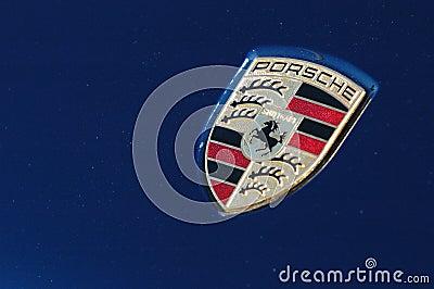 Porsche logo on blue sport car Editorial Stock Image