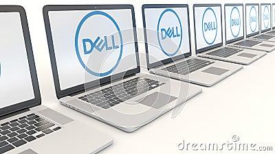 Portáteis modernos com Dell Inc logo Grampo conceptual do editorial 4K da informática, laço sem emenda ilustração royalty free