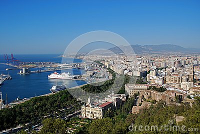 Port area and city, Malaga, Spain.
