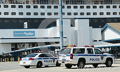 Port Authority Police New York New Jersey providing security for Queen Mary 2 cruise ship docked at Brooklyn Cruise Terminal Editorial Stock Image