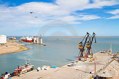 Port in Bahia Blanca, Argentina. Editorial Stock Photo