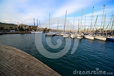 Port in beautiful Barcelona, Spain