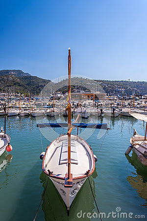Port with boats in Balearic island Editorial Stock Photo