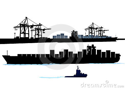 Port with container ship