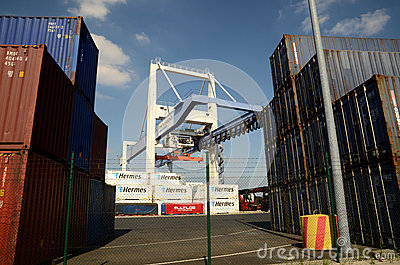 Port crane and  container Terminal Editorial Photo