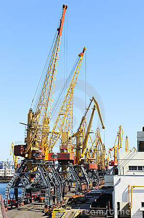 Port with cranes