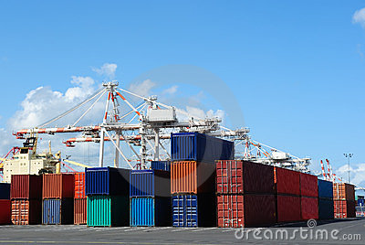 Port cranes and stacks of shipping containers