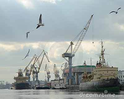 A port facility in Saint Petersburg, Russia