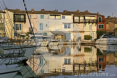 Port Grimaud, water reflection, Cote d Azur, Southern France