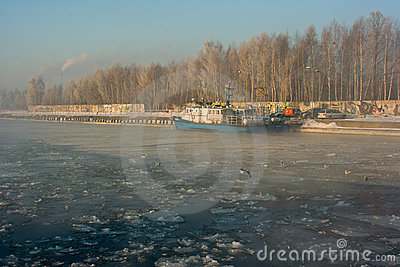 Port in the grip of ice. Editorial Stock Image