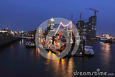 Port of Hamburg in night Editorial Stock Image