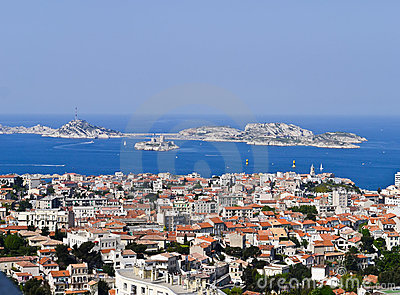 Port of Marseille France and the If castle