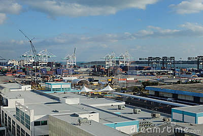 Port of Miami Editorial Stock Image