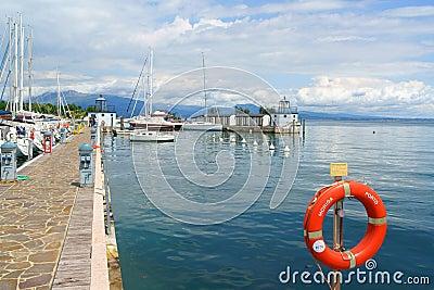 Port of Moniga del Garda on Lake Garda, Italy Editorial Photography