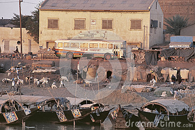 The port of Mopti, Mali Editorial Stock Image