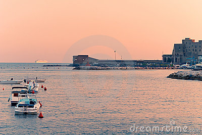 Port of Naples at sunset