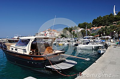 Port of Podgora with ships. Croatia Editorial Photo