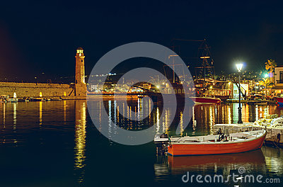 Port Rethymno at night. Crete. Greece.