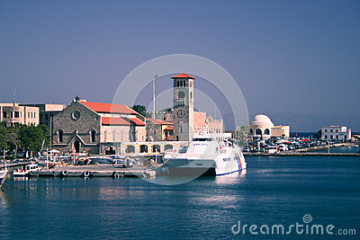 Port of Rhodes Town Editorial Photo