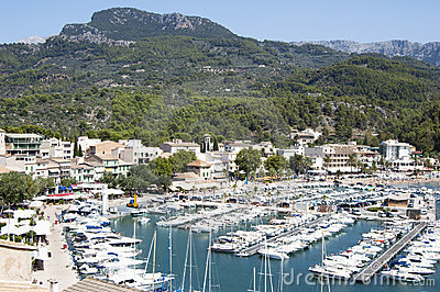 Port in small town, Majorca