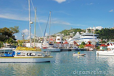 The port of St. George s, Grenada Editorial Photo