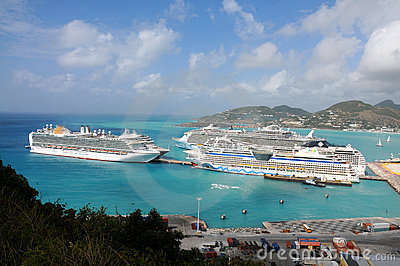 Port of St. Maarten, Cruise ships docked Editorial Stock Image