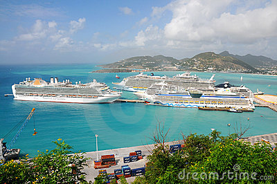 Port of St. Maarten, Cruise ships docked Editorial Photography