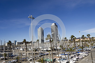 The port and the twin towers Editorial Stock Image