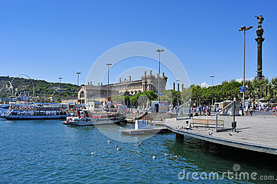 Port Vell in Barcelona, Spain Editorial Stock Photo