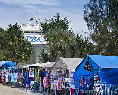 Port Vila Market Vendors & Ship Docked Editorial Photo