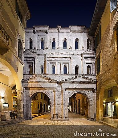 Free Porta Borsari By Night - Verona Italy Stock Photo - 27748830