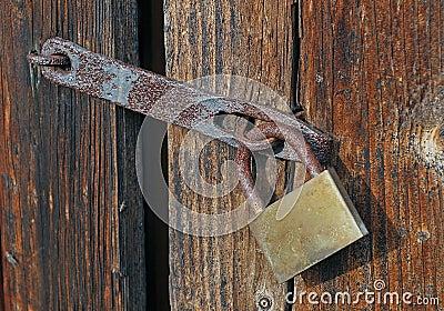 A Porta Chiusa Con Il Lucchetto Fotografia Stock Libera Da