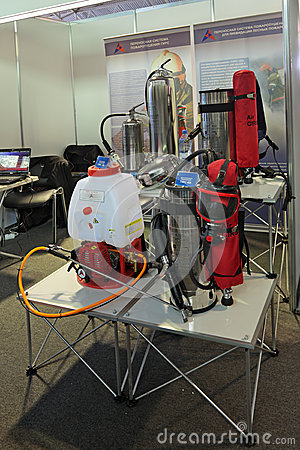 Portable fire-extinguishing system Editorial Stock Photo