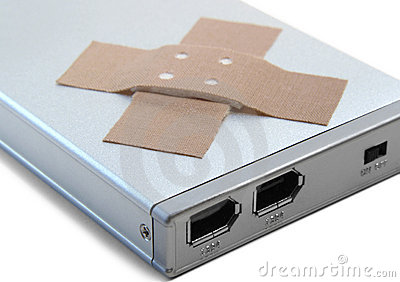 Portable hard disc and adhesive plastrer