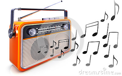 Portable radio and music notes