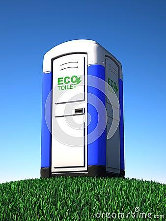 Portable toilet on grass