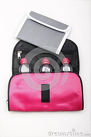 Portable wallet and bath bag.