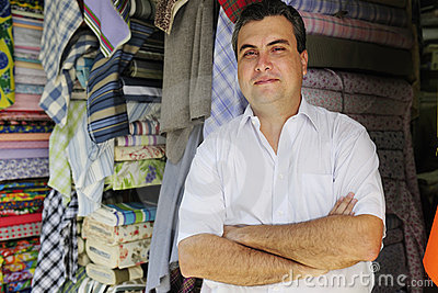Portait of a fabric store owner