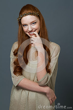 Free Portait Of A Smiling Cute Redhead Woman Stock Photos - 64961993