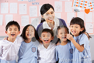 Portait Of Teacher And Students In Chinese School