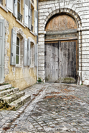 Porte Cochere Carriage Entrance on Old French House
