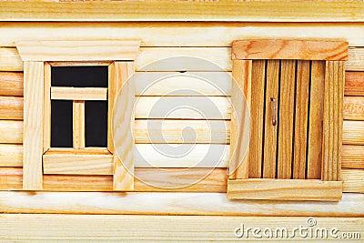 Porte et fen tre de cabane en rondins en bois - Porte cabane bois ...