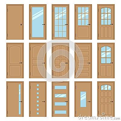 Porte interne illustrazione vettoriale immagine 66078162 - Tipi di porte interne ...