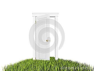 porte ouverte au nouveau monde tapis d 39 herbe sur le fond blanc illustration stock image 52995066. Black Bedroom Furniture Sets. Home Design Ideas