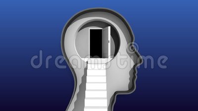 Porte ouverte en tête humaine et escalier au cerveau