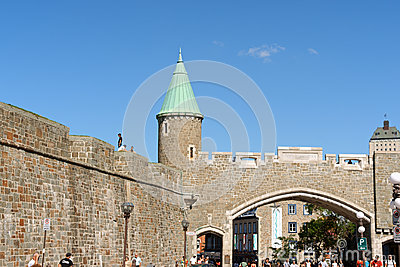 Porte Saint Jean (city gate) in Quebec City Editorial Photography
